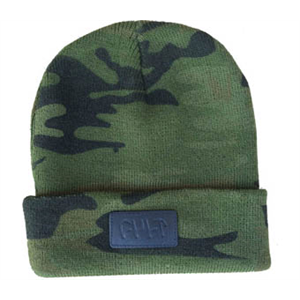 Cult leather patch beanie